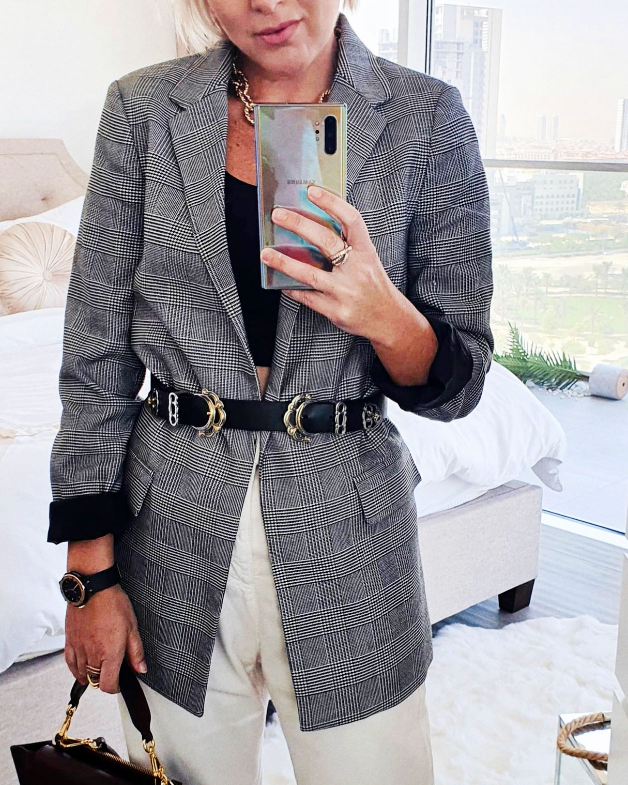 Blazer With A Belt On Top